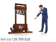 Купить «Businessman in heavy high taxes business concept», фото № 28789626, снято 29 февраля 2020 г. (c) Elnur / Фотобанк Лори