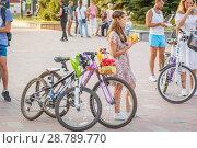 Купить «Russia, Samara, July 2017: Women's beautifully decorated bicycles waiting for their owners », фото № 28789770, снято 20 августа 2017 г. (c) Акиньшин Владимир / Фотобанк Лори