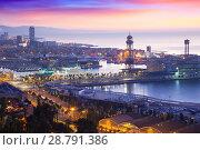 Купить «Port Vell at Barcelona in dawn time. Catalonia», фото № 28791386, снято 24 марта 2019 г. (c) Яков Филимонов / Фотобанк Лори