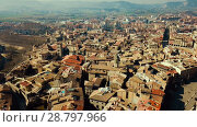 Купить «Aerial view of historic centre of Spanish town of Vic, Catalonia», видеоролик № 28797966, снято 6 марта 2018 г. (c) Яков Филимонов / Фотобанк Лори