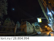 Купить «Night winter Potocki Palace in Lviv city, Ukraine», фото № 28804994, снято 10 декабря 2017 г. (c) Юрий Брыкайло / Фотобанк Лори