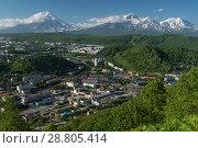 Вид сверху на город Петропавловск-Камчатский и вулканы (2018 год). Редакционное фото, фотограф А. А. Пирагис / Фотобанк Лори