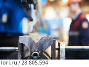 Купить «hydraulic press brake or bending machine for flat sheet metal.», фото № 28805594, снято 5 июня 2018 г. (c) Дмитрий Калиновский / Фотобанк Лори
