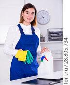 Купить «Female cleaner at work», фото № 28805734, снято 29 мая 2020 г. (c) Яков Филимонов / Фотобанк Лори