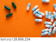 Купить «Group of medical capsules, top view», фото № 28806234, снято 7 августа 2017 г. (c) Pavel Biryukov / Фотобанк Лори