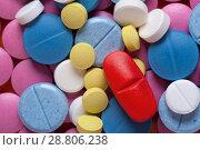 Купить «Macro shot of colorful medicaments, top view», фото № 28806238, снято 7 августа 2017 г. (c) Pavel Biryukov / Фотобанк Лори