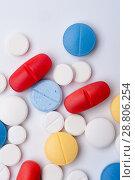 Купить «Macro shot of colorful medicaments, top view», фото № 28806254, снято 7 августа 2017 г. (c) Pavel Biryukov / Фотобанк Лори