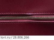 Купить «Detail of red leather bag, golden zipper», фото № 28806266, снято 4 сентября 2017 г. (c) Pavel Biryukov / Фотобанк Лори