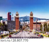 Купить «Вид на площадь Испании. Каталония, Испания», фото № 28807770, снято 5 апреля 2018 г. (c) Наталья Волкова / Фотобанк Лори