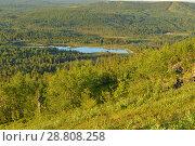Купить «Northern landscape with blue lake at sunset. Finnish Lapland», фото № 28808258, снято 12 июля 2018 г. (c) Валерия Попова / Фотобанк Лори