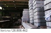 Купить «Production workshop, equipment and plates are on the floor», видеоролик № 28808462, снято 22 октября 2018 г. (c) Константин Шишкин / Фотобанк Лори