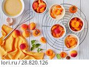Купить «cooking a dessert flagnarde with apricots», фото № 28820126, снято 22 июля 2018 г. (c) Oksana Zh / Фотобанк Лори