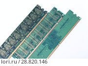 Купить «Модули оперативной памяти, макро», фото № 28820146, снято 27 июня 2018 г. (c) Евгений Ткачёв / Фотобанк Лори