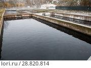 Купить «Opened reservoirs of fish farm», фото № 28820814, снято 4 февраля 2018 г. (c) Яков Филимонов / Фотобанк Лори