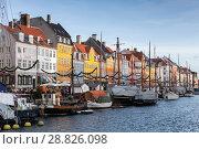Купить «Copenhagen, Denmark, New Harbour view», фото № 28826098, снято 10 декабря 2017 г. (c) EugeneSergeev / Фотобанк Лори