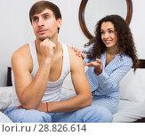 Купить «Wife wheedling forgiveness from husband after argue», фото № 28826614, снято 19 августа 2018 г. (c) Яков Филимонов / Фотобанк Лори