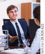 Купить «employee having job interview», фото № 28826622, снято 20 августа 2018 г. (c) Яков Филимонов / Фотобанк Лори