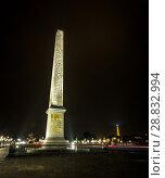 Купить «Place Concorde at night with monument obelisk», фото № 28832994, снято 5 сентября 2014 г. (c) Сурикова Ирина / Фотобанк Лори