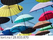 Купить «Город Адлер, Краснодарский край, Россия. Аллея парящих зонтиков солнечным днём на фоне голубого неба», эксклюзивное фото № 28833870, снято 8 июня 2018 г. (c) Игорь Низов / Фотобанк Лори
