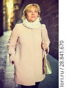 Купить «Female in the city in scarf and coat», фото № 28841670, снято 27 ноября 2017 г. (c) Яков Филимонов / Фотобанк Лори