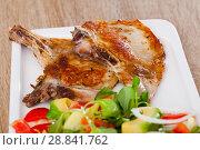 Купить «Pork chops with vegetable salad», фото № 28841762, снято 17 июля 2019 г. (c) Яков Филимонов / Фотобанк Лори