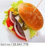 Купить «Double cheeseburger with beef, tomato, cheese, cucumber and lettuce», фото № 28841778, снято 19 августа 2018 г. (c) Яков Филимонов / Фотобанк Лори