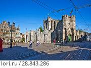 Купить «Гравенстеен (Gravensteen) или Замок графов Фландрии. Гент. Бельгия», фото № 28843286, снято 6 мая 2018 г. (c) Сергей Афанасьев / Фотобанк Лори