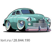 Купить «Vector Cartoon retro car», иллюстрация № 28844190 (c) Александр Володин / Фотобанк Лори