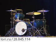 Купить «Drum Set On A Stage At Dark Background. Musical Drums Kit On Stage.», фото № 28845114, снято 17 марта 2017 г. (c) easy Fotostock / Фотобанк Лори