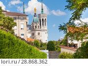 Купить «Notre Dame de Fourviere basilica in Lyon, France», фото № 28868362, снято 14 июля 2017 г. (c) Сергей Новиков / Фотобанк Лори