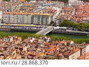 Купить «Top view of Lyon cityscape with Pont Marechal Juin», фото № 28868370, снято 14 июля 2017 г. (c) Сергей Новиков / Фотобанк Лори