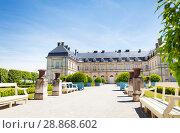 Купить «Facade of Champlitte chateau and orangery, France», фото № 28868602, снято 25 мая 2017 г. (c) Сергей Новиков / Фотобанк Лори