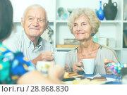 Купить «Smiling elderly spouses enjoying tea with girl», фото № 28868830, снято 28 августа 2017 г. (c) Яков Филимонов / Фотобанк Лори