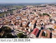 Купить «Aerial view of district of Lleida with modern apartment buildings, Catalonia», фото № 28868994, снято 20 июня 2018 г. (c) Яков Филимонов / Фотобанк Лори