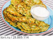 Купить «Image of pancakes from courgettes», фото № 28869114, снято 15 октября 2018 г. (c) Яков Филимонов / Фотобанк Лори