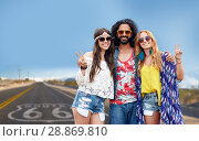 Купить «hippie friends showing peace over us route 66», фото № 28869810, снято 27 августа 2015 г. (c) Syda Productions / Фотобанк Лори