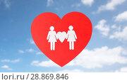 Купить «female couple white paper pictogram on red heart», фото № 28869846, снято 14 ноября 2017 г. (c) Syda Productions / Фотобанк Лори