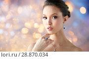 Купить «beautiful woman with earring, ring and pendant», фото № 28870034, снято 9 апреля 2016 г. (c) Syda Productions / Фотобанк Лори