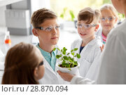 Купить «students and teacher with plant at biology class», фото № 28870094, снято 19 мая 2018 г. (c) Syda Productions / Фотобанк Лори