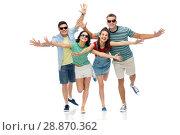 Купить «friends in sunglasses having fun», фото № 28870362, снято 30 июня 2018 г. (c) Syda Productions / Фотобанк Лори