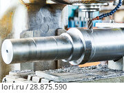Купить «Milling metalworking process. machining shaft groove by vertical mill», фото № 28875590, снято 11 июля 2018 г. (c) Дмитрий Калиновский / Фотобанк Лори