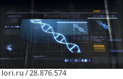 hand switching virtual screen with dna molecule. Стоковое видео, видеограф Syda Productions / Фотобанк Лори