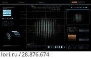 Купить «virtual screen with cube 3d rendering over black», видеоролик № 28876674, снято 3 июля 2018 г. (c) Syda Productions / Фотобанк Лори