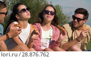 Купить «friends eating pizza at picnic in summer park», видеоролик № 28876762, снято 19 июля 2018 г. (c) Syda Productions / Фотобанк Лори