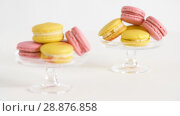 Купить «yellow and pink macarons on glass stands», видеоролик № 28876858, снято 13 июля 2018 г. (c) Syda Productions / Фотобанк Лори