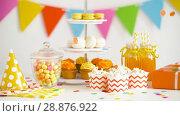Купить «food, drinks and birthday present at party», видеоролик № 28876922, снято 13 июля 2018 г. (c) Syda Productions / Фотобанк Лори