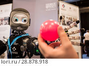 Купить «'Nikita' the robots name is an I Cub that is able to track objects and react, on show from Edinburgh centre of Robotics at Heririot Watt University at...», фото № 28878918, снято 22 марта 2017 г. (c) age Fotostock / Фотобанк Лори