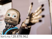 Купить «'Nikita' the robots name is an I Cub that is able to track objects and react, on show from Edinburgh centre of Robotics at Heririot Watt University at...», фото № 28878962, снято 22 марта 2017 г. (c) age Fotostock / Фотобанк Лори