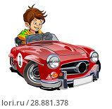 Купить «Cartoon retro car with driver», иллюстрация № 28881378 (c) Александр Володин / Фотобанк Лори