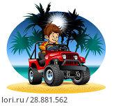 Купить «Vector cartoon boy driving 4x4 car on the beach», иллюстрация № 28881562 (c) Александр Володин / Фотобанк Лори
